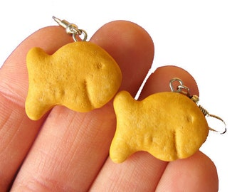 EARRINGS Goldfish Earrings, Cracker Earrings, Goldfish Crackers, Food Jewelry, Miniature Food Earrings, Cracker Jewelry
