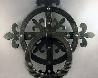 Hand Forged Ironwork Fleur de Lis Blacksmith Door Knocker Medieval Renaissance