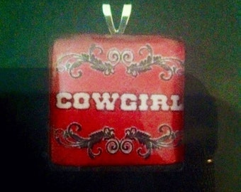 C13 Red Cowgirl Pendant Charm Necklace