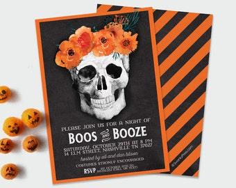 Boos and Brews / Watercolor Floral and Skull Party / Halloween and Scary Party / Watercolor Flowers and Bones