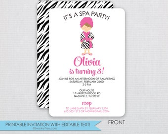 Spa Party Invitation with Fun Zebra Patterns! - DIY - Instant Download & Editable File - Personalize at home with Adobe Reader