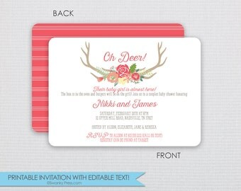 Oh Deer Antler Baby Shower Invitation - Pink - DIY - Instant Download & Editable File - Personalize at home with Adobe Reader