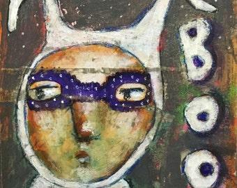 Boo Bunny, Folk Art 4x6 Print by mystele, Fall, Autumn, Costume, Halloween