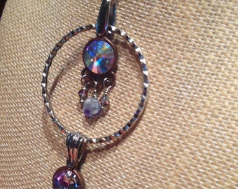 Fun and funky multi drop Swarovski charm necklace