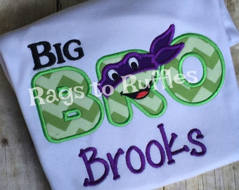Ninja Turtle Personalized Big Brother Shirt- Big Brother Monogrammed Shirt