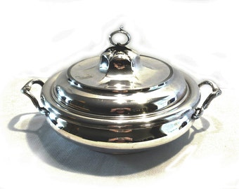 SALE! PAIRPOINT 2486 Antique Quad Silver Plate Round Vegetable Casserole Serving Dish