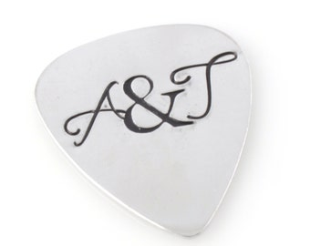 Valentines Guitar Pick - Love Initials Guitar Pick - Custom Hand Stamped
