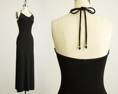 20% Off With Coupon Code! 90s Vintage Bebe Black Open Back Maxi Dress / Size Small