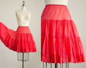 60s Vintage Red Petticoat Ruffle Mini Skirt / Extra Full Circle Skirt / Size Small / Medium