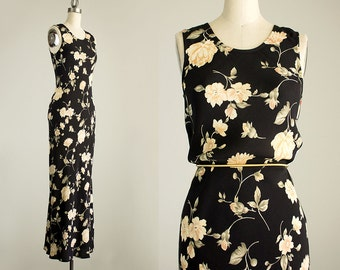 90s Vintage Rampage Black And Cream Floral Print Maxi Sun Dress / Size Extra Small / Grunge Revival 1990s Hipster Style