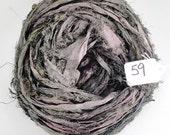 Sari silk ribbon, Recycled Silk Sari Ribbon, dark green pink Fuzzy ribbon
