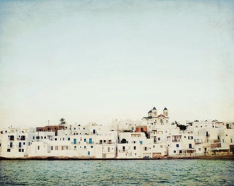 Greece wall art - pale blue white decor - minimal photography -  architecture print - white wall art - Greek Island art 'Windows and Sky'