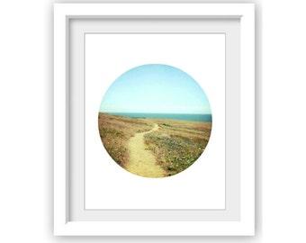 Circle wall art / landscape photograph / circular format / round photo /  gold and aqua / California print / 'Trail of Beauty'
