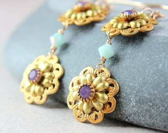 Swarovski Earrings    Vintage Style  Crystal Earrings  Crystal Jewellery Gold   Fashion Jewelry Accessories Swarovski Crystal Jewelry