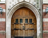 Door Photograph, Vintage Wood Door, Golden Brown, Rustic Door, Architecture, Ornate, Foyer Decor, Architectural Art - University Doors