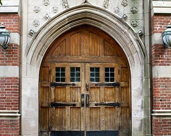 Door Photograph, Photo or Canvas, Vintage Wood Door, Rustic Door, Architecture, Ornate, Foyer Decor, Architectural Art - University Doors