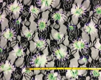 New! Beautiful stretch lace  knit fabric 1 yard pretty bright floral
