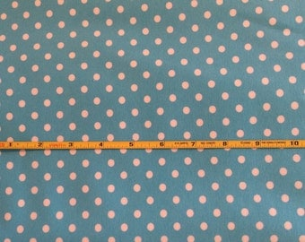 "NEW White dots on aqua cotton lycra knit fabric 96/4 58"" wide."