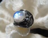 Beautiful Iridescent Moonstone  Ring Size 8.75