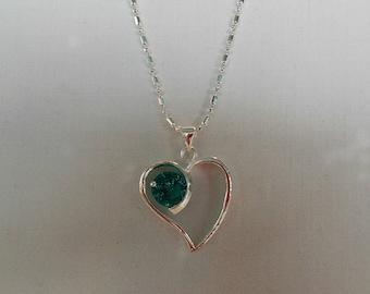 Sterling Silver Crystal Heart Pendant - OOAK