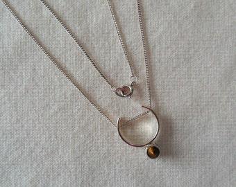 Vintage Kupittaan Kulta Tiger Eye Sterling Silver Necklace