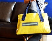 Leather Work Bag for Women, Laptop Purse, Shoulder Bag, Leather Handbag, Leather Tote - The Grayson Bag in Yellow