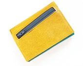 Zipper Wallet, Custom Womens Leather Wallet, Personalized Womens Wallet, Small Trifold Wallet, The Frances Wallet in Lemon Yellow