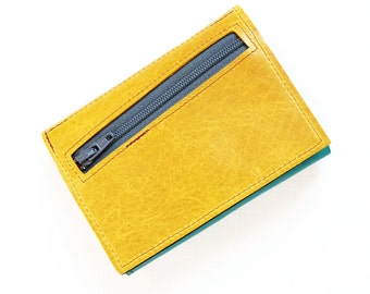 Zipper Wallet, Custom Womens Leather Wallet, Personalized Womens Wallet, Small Trifold Wallet, The Frances Wallet in Lemon Yellow