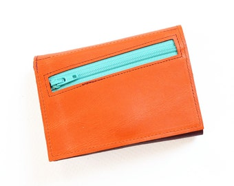 Personalized Womens Wallet, Leather Zipper Wallet, Small Wallet, Trifold Wallet for Her, Gift for Women, The Frances Wallet in Orange