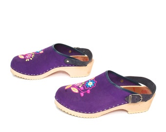 size 9 CLOGS purple leather 80s 90s PLATFORM wooden MULES