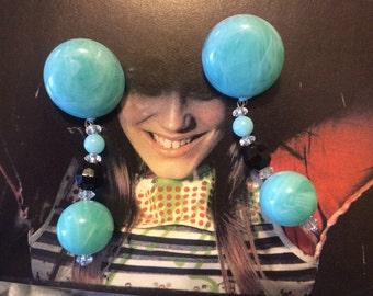 Vintage 80's throwback Big blue beaded ball kitsch plastic jewelry earrings