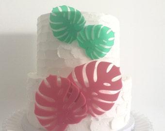 Monstera Leaf Acrylic Cake Toppers Set of 4 - Tropical Wedding, Bachelorette & Birthday
