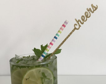 Cheers Drink Stirrers - Set of 6 Laser Cut Acrylic Stir Sticks