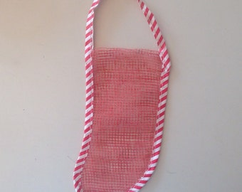 Set of 8 vintage miniature mesh Christmas stockings, great for favors, ornaments, craft use