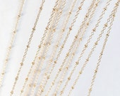 10ft Light Gold plated brass chain with beads, light gold beaded chain, Bulk small cable chain