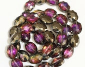One strand of two tone oval crystal beads beads 12x15mm, electro plated crystal beads,
