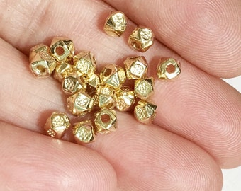 45 pcs light gold polygon spacer beads 3x3.5mm,  metal spacer beads