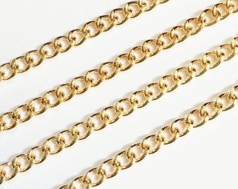 32ft  gold plated curb chain, gold tone iron curb chain, unsoldered chain 4x3mm