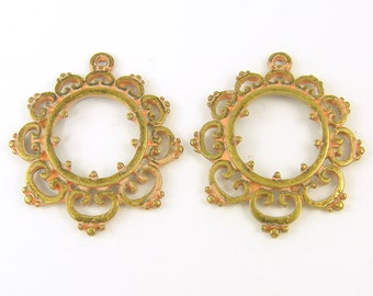 Peach Patina Earring Findings Antique Brass Filigree Pendants Bronze Cutout Jewelry Supply |O4-2|2