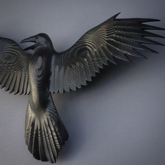 Raven wood carving by jason tennant jasontennant on etsy