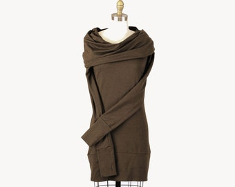 Alena Designs - Iris  Mini - Cowlneck Organic Cotton Bamboo Tunic Dress Sandalwood