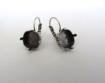 1 Pair Square Antique Silver Plated Lever Back Earrings for Swarovski 12mm 4470