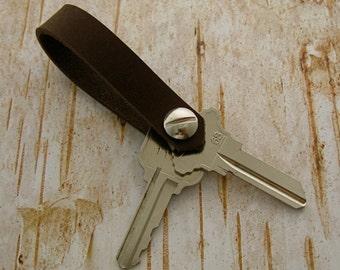 Men's Luxury Leather Key Fob, Minimalist Keychain, Brown Leather Key Ring, Men's Leather Goods, Handmade Key Fob, 3rd Anniversary Gift
