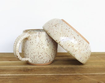 Ceramic Pottery Breakfast Set - One Cup and One Bowl in Satin Oatmeal Glaze, Rustic Stoneware