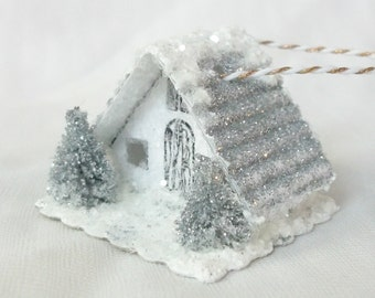 Vintage Putz Style Tiny Miniature White Glitter Sugar House Silver Trees Winter Tea Cup Fairy Garden Christmas Village or Ornament  for Tree
