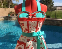 Sassy Birds and Love Letters Apron, Valentine's Day,  Womens Plus Sizes, Weddings, Bride Apron, Hostess Apron, Pin Up  Sweetheart Apron
