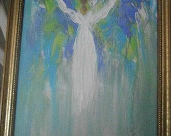 Angel Ascending, Gold Leaf Frame, 9 x 11 framed, original, one of a kind
