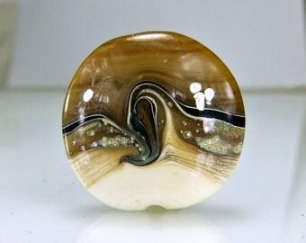 Tan Ivory Black Blue Lampwork Focal Bead