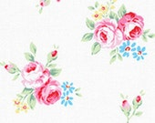 Pink Red Aqua White Rose Floral 31270 10 Fabric by Lecien Flower Sugar