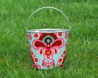 Fabric Covered Pail Galvanized Metal Duck Egg French Wallpaper Damask
